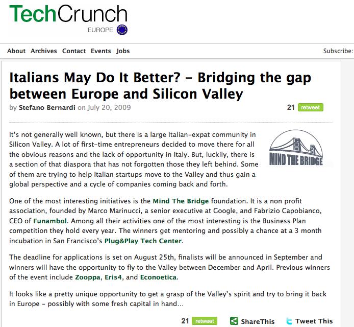 Tech Crunch Europe: post su Mind the Bridge